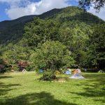 のんびりお昼着、徳沢キャンプ場テント泊