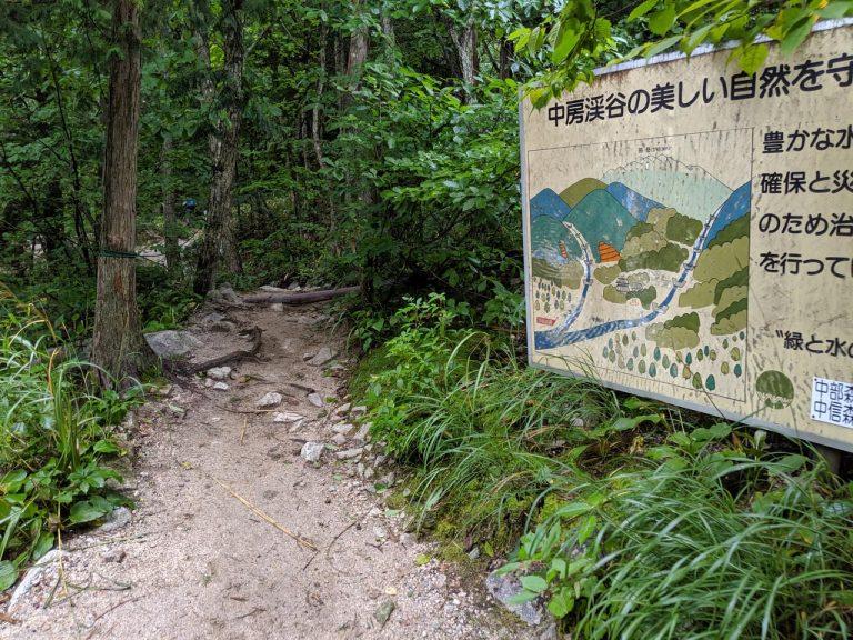 中房温泉の登山道開始