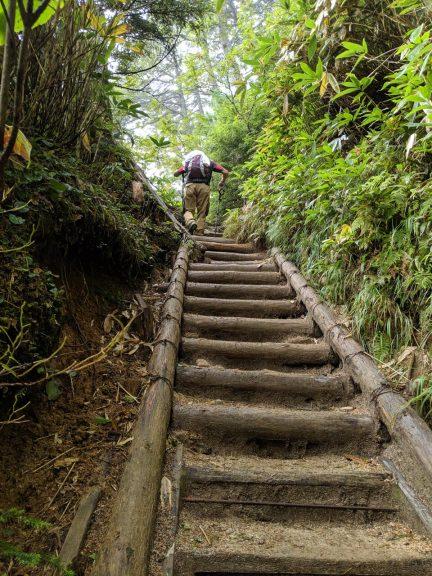 急な階段を登る人