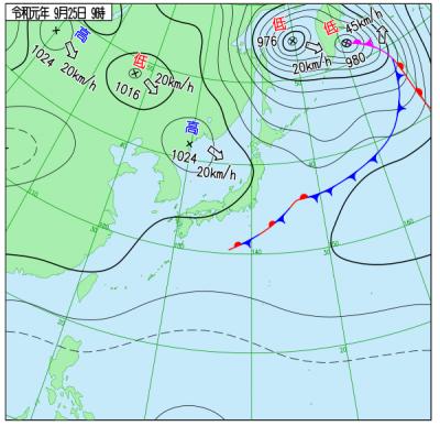 """9月25日9時の天気図(<a href=""""http://www.data.jma.go.jp/fcd/yoho/wxchart/quickdaily.html?show=20190925"""">気象庁より</a>)"""