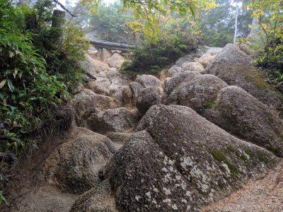 岩を登る箇所
