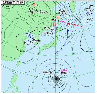10月09日6時の天気図([[http://www.data.jma.go.jp/fcd/yoho/wxchart/quickdaily.html?show=20191009][気象庁より]])
