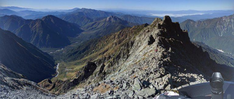 奥穂高岳から西穂高岳方面(南西)の景色