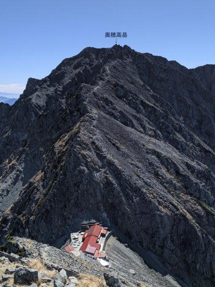 穂高岳山荘から奥穂高岳へのルート全体