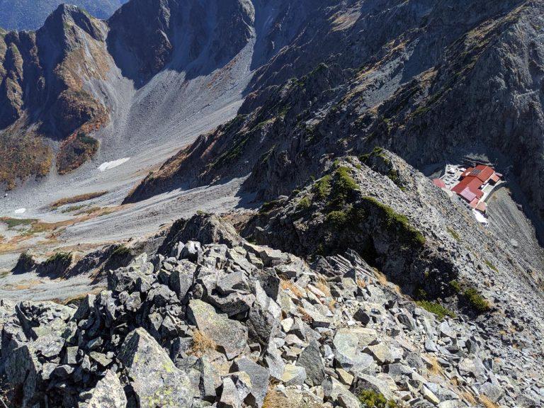 涸沢岳から穂高岳山荘とカール