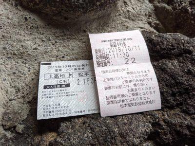 松本までの乗車券と整理券