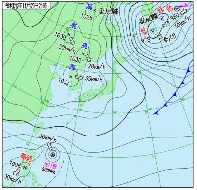 11月20日21時の天気図([[http://www.data.jma.go.jp/fcd/yoho/wxchart/quickdaily.html?show=20191009][気象庁より]])