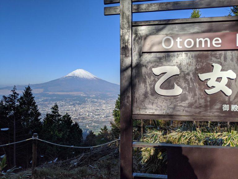 右に乙女峠看板を配した富士山