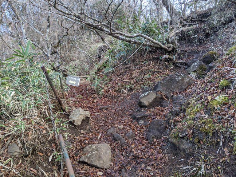 ロープで塞がれている元登山道