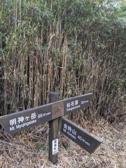矢倉沢峠分岐の標識