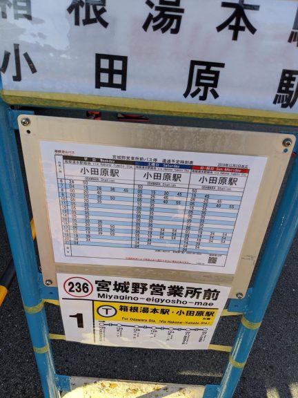 宮城野営業所前バス停1番乗り場時刻表