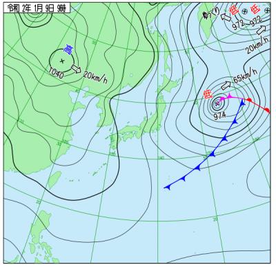 1月9日09時の天気図([[http://www.data.jma.go.jp/fcd/yoho/wxchart/quickdaily.html?show=20200109][気象庁より]])