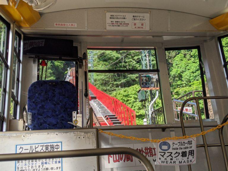 御岳登山鉄道ケーブルカー車内