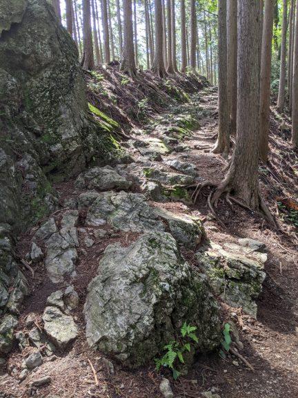 岩の上を歩く箇所