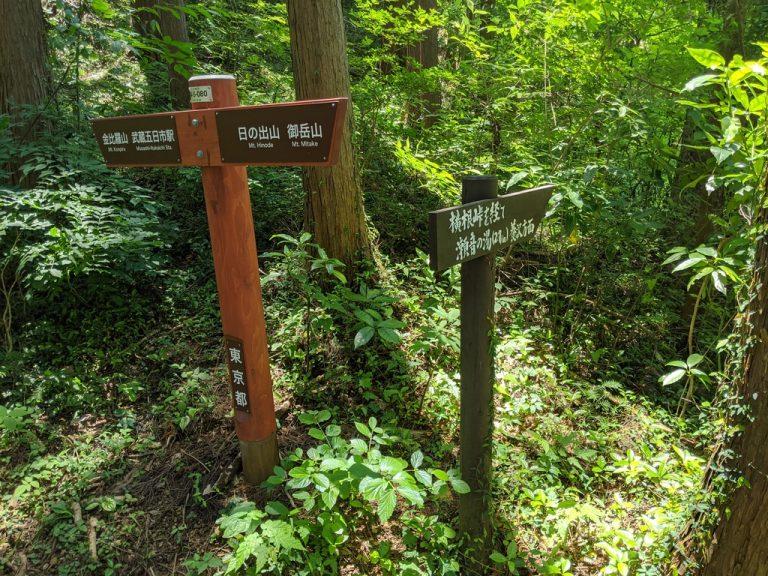 右: 横根峠を経て瀬音の湯(2.7km)養沢方面