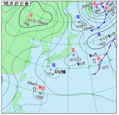 """8月1日09時の天気図(<a href=""""http://www.data.jma.go.jp/fcd/yoho/wxchart/quickdaily.html?show=20200801"""">気象庁より</a>)"""