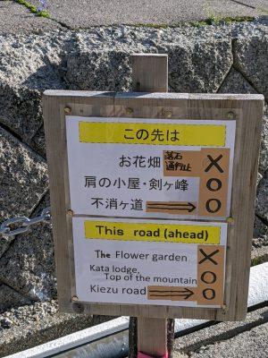 登山道入口の看板