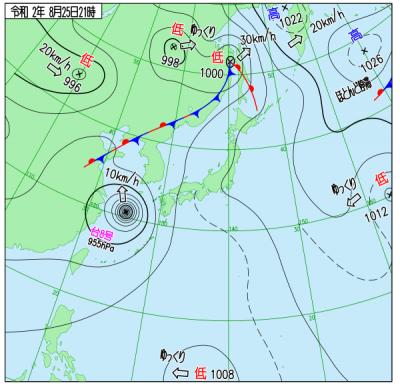 """8月25日21時の天気図(<a href=""""http://www.data.jma.go.jp/fcd/yoho/wxchart/quickdaily.html?show=20200825"""">気象庁より</a>)"""