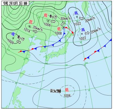 """10月3日9時の天気図(<a href=""""http://www.data.jma.go.jp/fcd/yoho/wxchart/quickdaily.html?show=20201003"""">気象庁より</a>)"""
