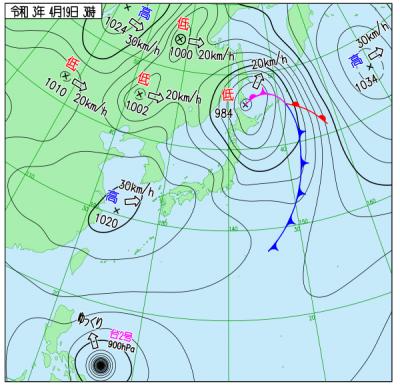"""4月19日3時の天気図(<a href=""""http://www.data.jma.go.jp/fcd/yoho/wxchart/quickdaily.html?show=20210419"""">気象庁より</a>)"""