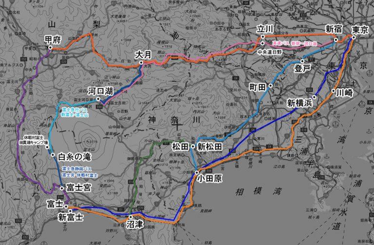東京方面から田貫湖キャンプ場へのアクセス