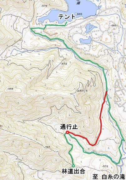 林道出合から田貫湖キャンプ場までのルート(通行止め迂回)
