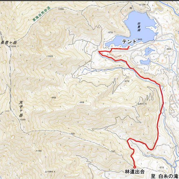 林道出合から田貫湖キャンプ場までのルート