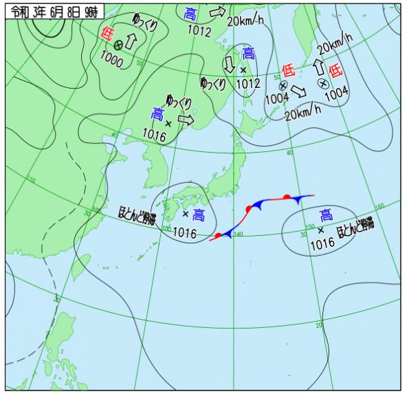"""6月8日9時の天気図(<a href=""""http://www.data.jma.go.jp/fcd/yoho/wxchart/quickdaily.html?show=20210419"""">気象庁より</a>)"""