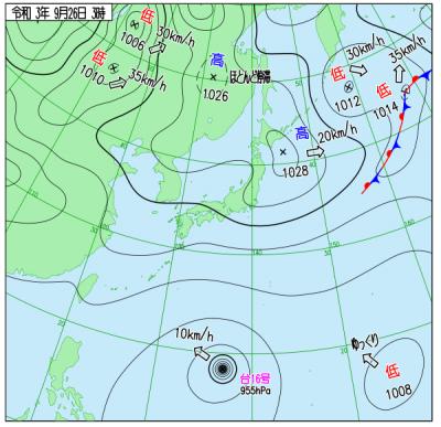 """9月26日3時の天気図(<a href=""""http://www.data.jma.go.jp/fcd/yoho/wxchart/quickdaily.html?show=20210926"""">気象庁より</a>)"""