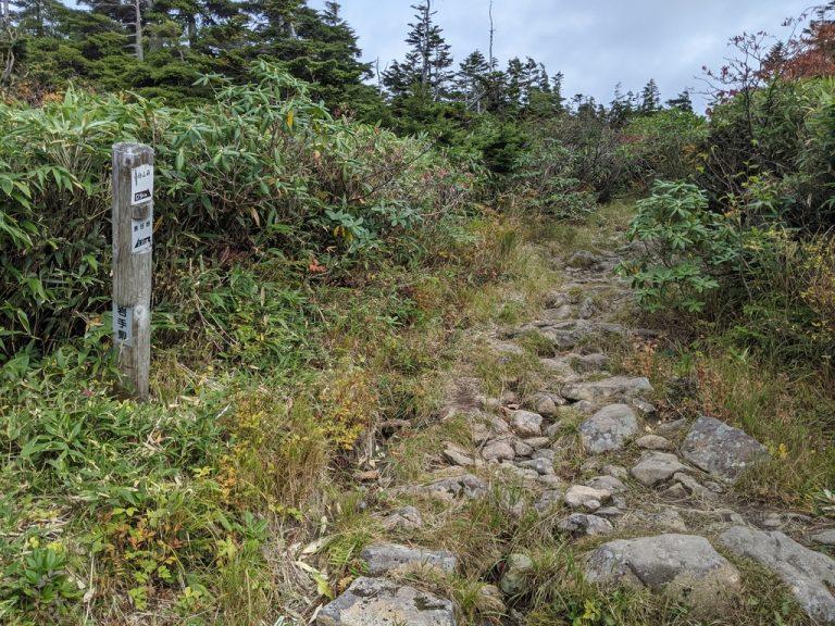 黒谷地~茶臼岳 黒谷地から0.8km 茶臼山荘まで0.5km